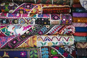 Colourful Hand Woven Fabrics at Mapusa Market, Goa, India, Asia by Yadid Levy