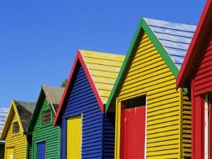 Colourfully Painted Victorian Bathing Huts in False Bay, Cape Town, South Africa, Africa by Yadid Levy