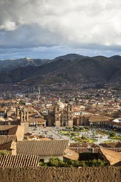 Elevated View over Cuzco and Plaza De Armas, Cuzco, Peru, South America by Yadid Levy