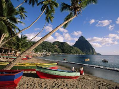 Fishing Boats at Soufriere with the Pitons in the Background, West Indies, Caribbean by Yadid Levy