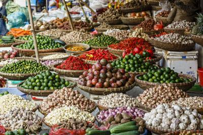 Fruits and Vegetables Stall at a Market in the Old Quarter, Hanoi, Vietnam, Indochina by Yadid Levy