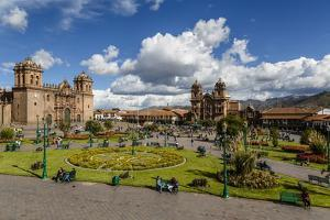 Plaza De Armas with the Cathedral and Iglesia De La Compania De Jesus Church, Cuzco, Peru by Yadid Levy
