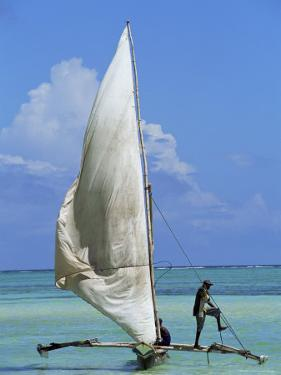 Sailing Boat, Kiwengwa Beach, Zanzibar, Tanzania, East Africa, Africa by Yadid Levy