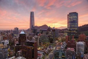 Skyline of Santiago with the Gran Torre, Santiago, Chile, South America by Yadid Levy