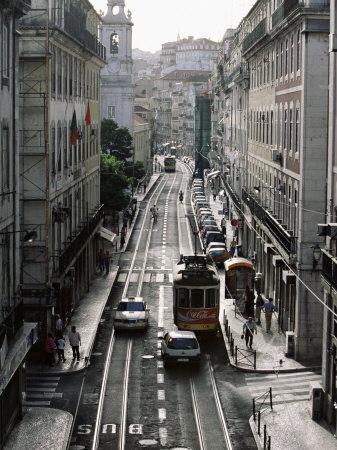 Traffic in the Baixa Area, Lisbon, Portugal