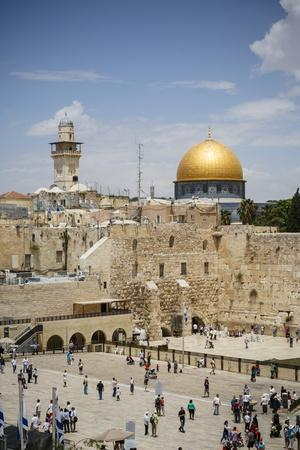 View over the Western Wall (Wailing Wall) and the Dome of the Rock Mosque