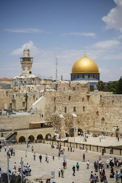 View over the Western Wall (Wailing Wall) and the Dome of the Rock Mosque by Yadid Levy
