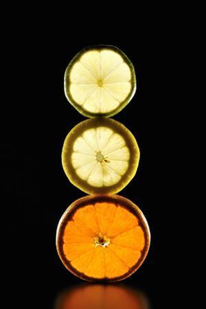 Three Stacked, Cut Citrus is Illuminated Black Bac by Yagi Studio