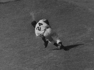Action Shot of Willie Mays During the Giant Vs. Dodgers Game by Yale Joel