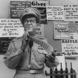 Comedian Phil Silvers Shuffling Cards on His Television Show by Yale Joel