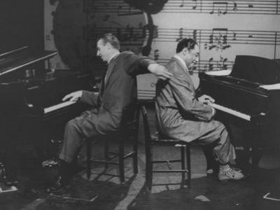 Composers and Band Leaders Stan Kenton and Duke Ellington, Playing Dual Pianos on Cbs TV Show by Yale Joel