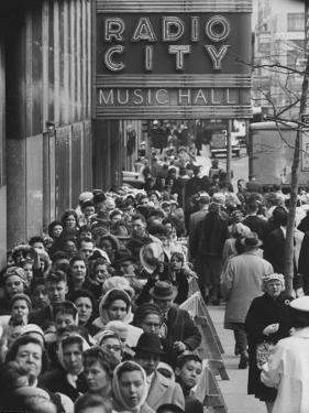 Crowds of People Waiting to See Radio City Music Hall's Easter Show by Yale Joel