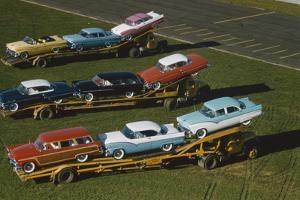 Elevated View of the 1954 Line of Ford Fairlaine Automobiles by Yale Joel