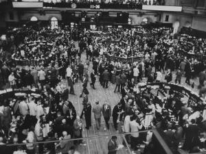 Frantic Day at the New York Stock Exchange During the Market Crash by Yale Joel