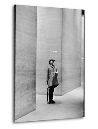 French Actor Jacques Tati Looking at the High Ceiling of an Office Lobby by Yale Joel
