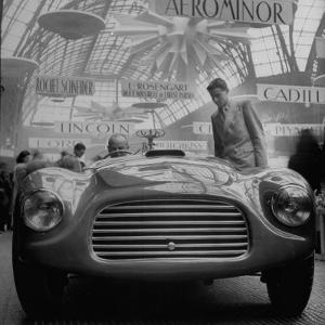 Front View of New Model Ferrari Being Shown During Automobile Exhibit by Yale Joel