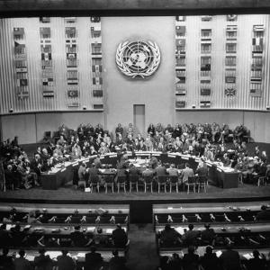 Gallery of the Palais De Chaillot in Paris at the United Nations Security Council October Session by Yale Joel