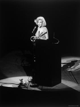 "Marilyn Monroe Singing ""Happy Birthday"" at Democratic Rally for President John F Kennedy's Birthday by Yale Joel"