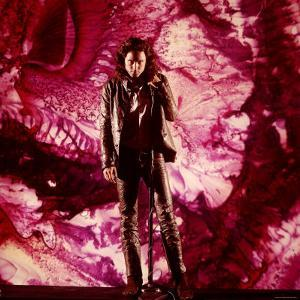 Rock Star Jim Morrison of The Doors Singing on Stage in Front of a Purple Psychedelic Backdrop by Yale Joel
