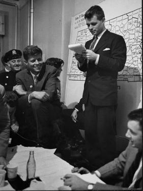 Sen. Election Night, John F Kennedy Listens to Brother Robert Read Returns as Ethel Listens, Boston by Yale Joel