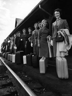 Smith College Girls Standing at Northampton Station with Their Suitcases by Yale Joel