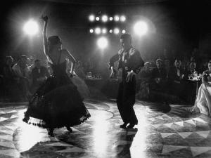 The Opening of the Castellana Hilton Hotel, Spanish Dancers Doing a Famenca Number in Patio by Yale Joel