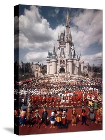 Walt Disney Characters and Park Staff Posing En Masse in Front of Cinderella's Castle by Yale Joel