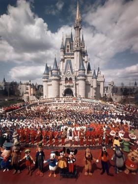 Walt Disney Characters and Park Staff Posing En Masse in Front of Cinderella's Castle by Yale Joel