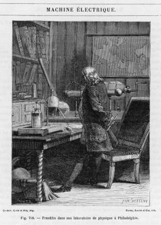 Benjamin Franklin American Statesman Scientist and Philosopher in His Physics Lab at Philadelphia