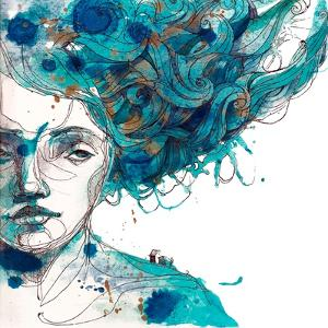Beautiful Girl's Face with Long Blue Hair. Watercolor Illustration in Vector.Design for Invitation, by Yana Fefelova