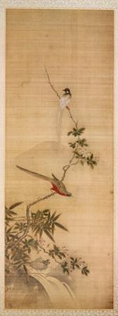 Birds on a Plum Blossom by Yanagisawa Kien