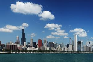 Chicago Daytime Skyline View from the Lake Michigan under Blue Sky. Panoramic View. by Yaro