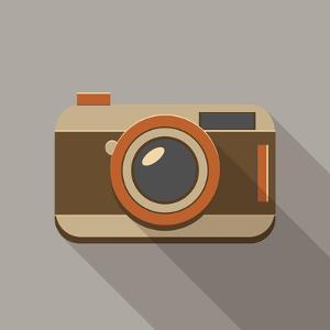 Flat Long Shadow Retro Camera Icon by YasnaTen