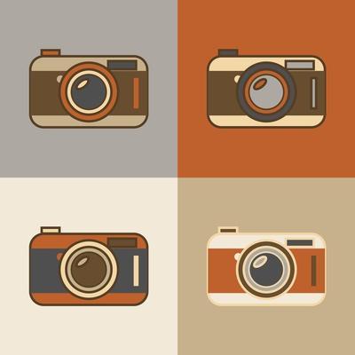 Flat Retro Camera Icons