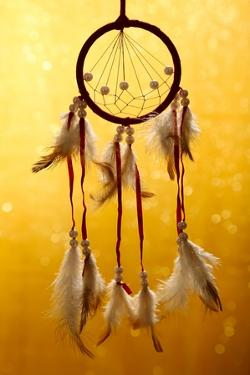 Beautiful Dream Catcher On Yellow Background With Lights by Yastremska