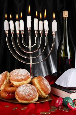 Festive Composition for Hanukkah on Cloth Close-Up by Yastremska