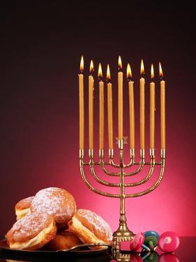 Festive Composition for Hanukkah on Dark Background by Yastremska