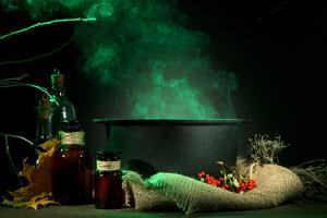 Scary Halloween Laboratory on Dark Color Background by Yastremska