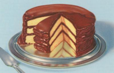 Yellow Cake with Chocolate Frosting, Three Layers