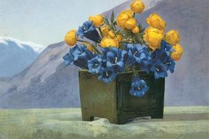 Yellow Ranunculus and Bluebells
