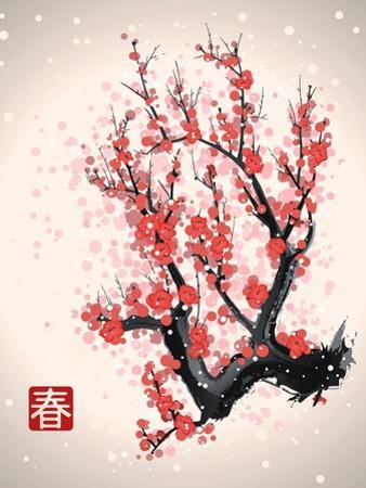 Blooming Flowers on the Tree Branch. Vector Image in Japanese Style. (Character Means Spring )