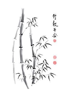 Bamboo Ink Painting And Calligraphy by yienkeat