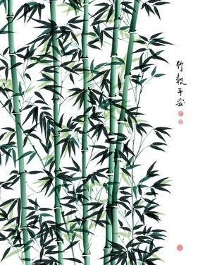 Bamboo Ink Painting. Translation: Wellbeing by yienkeat