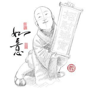 Sketch of Chinese Little Monk Presenting Scroll with Chinese New Year Wishes by yienkeat