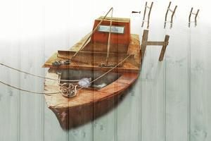 Boat with Textured Wood Look III by Ynon Mabat
