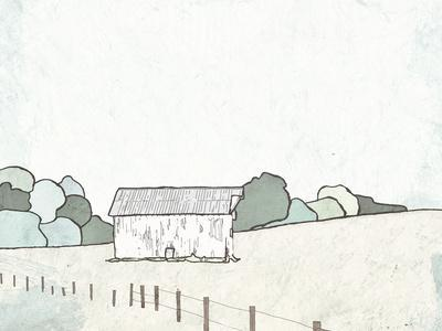 Farmhouse Under White Skies