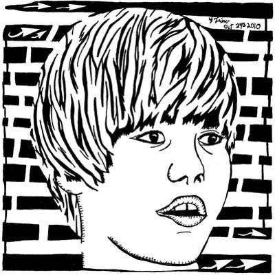 Maze Portrait of Justin Bieber Psychedelic by Yonatan Frimer