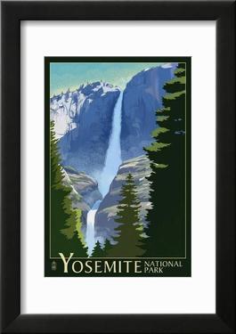 Yosemite Falls - Yosemite National Park  California Lithography