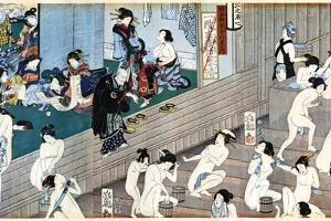 A Bath House Scene, Japan by Yoshiiku