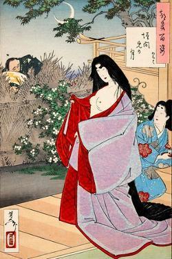 A Glimpse of the Moon - Kaoyo, One Hundred Aspects of the Moon by Yoshitoshi Tsukioka